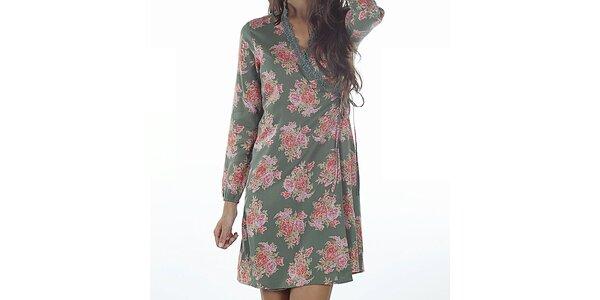 Dámske zelené zavinovacie šaty s potlačou Wanda