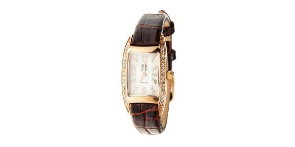 Dámske zlaté hodinky Royal London s hnedým remienkom