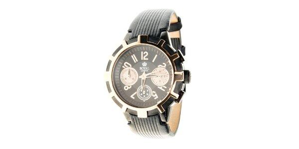 Dámske zlato-čierne hodinky Royal London s čiernym koženým remienkom