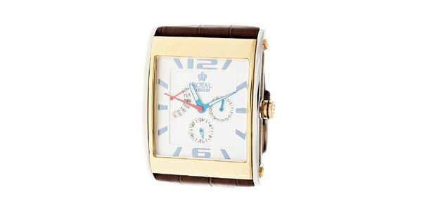 Zlato-strieborné hodinky Royal London s hnedým koženým remienkom