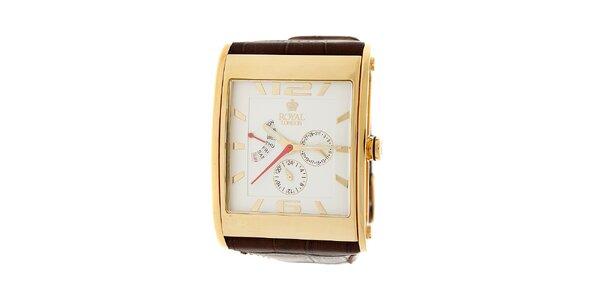 Zlaté hodinky Royal London s hnedým koženým remienkom