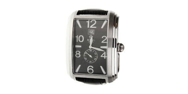 Pánske strieborné hodinky Royal London s čiernym koženým remienkom