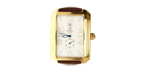 Pánske zlaté hodinky Royal London s hnedým remienkom
