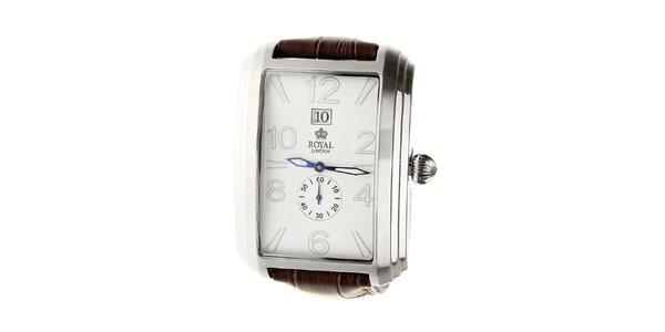Pánske strieborné hodinky Royal London s hnedým remienkom