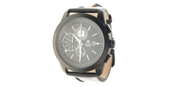 Pánske čierne hodinky Royal London s čiernym koženým remienkom