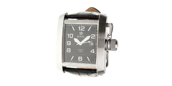 Pánske ocelové hodinky Royal London s čiernym koženým remienkom