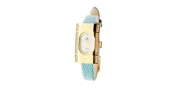 Dámske zlaté hodinky Royal London s tyrkysovým remienkom a kryštálmi