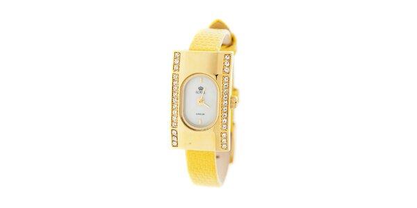 Dámske zlaté hodinky Royal London so žltým remienkom a kryštálmi