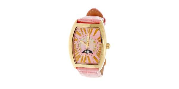 Dámske zlaté hodinky Royal London s ružovým remienkom