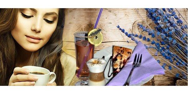 levanduľová káva, limonáda a koláčik