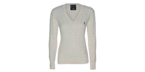 Dámsky krémový sveter s vrkočovým vzorom Giorgio di Mare