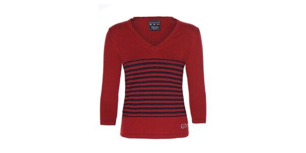 Dámsky červený sveter s prúžkami Giorgio di Mare