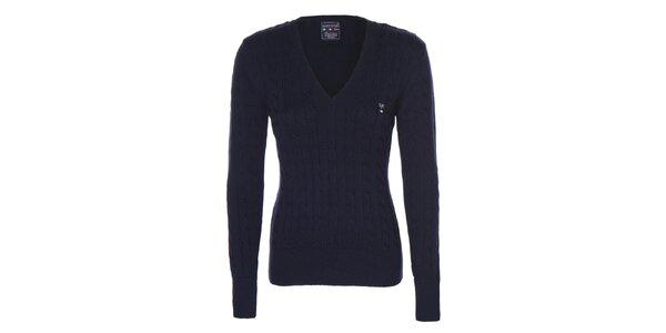 Dámsky tmavo modrý sveter s vrkočovým vzorom Giorgio di Mare