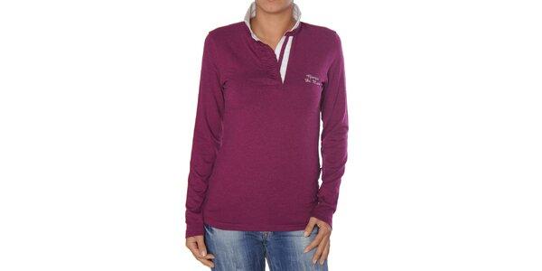 Dámske purpurové tričko s bielym golierikom Giorgio di Mare