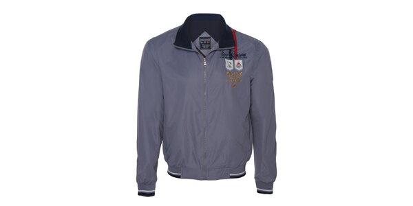 Pánska šedá bunda s nášivkami Giorgio di Mare