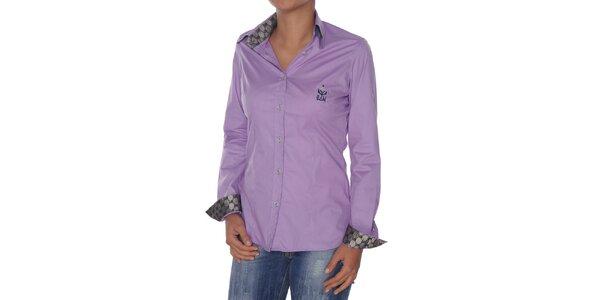 7a1cd3fc2ed3 Dámska fialová košeľa so striebornými detailmi Giorgio di Mare