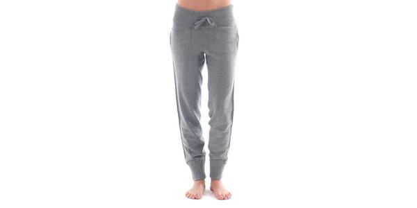 Dámske šedé športové nohavice s bielym pruhom Nolita