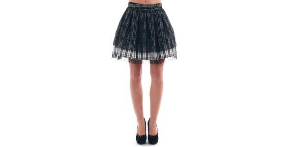 Dámska naberaná kockovaná sukňa s čipkou Nolita