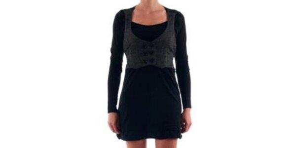 Dámske čierne šaty s vestičkou Nolita