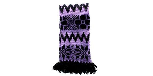 Dámska pletená fialovo-čierna šála Nolita