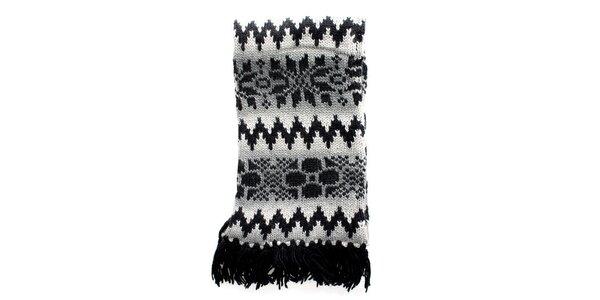 Dámska pletená šedočierna šála Nolita