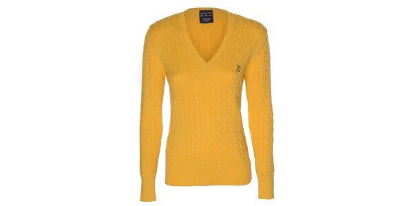 Dámsky žltý sveter s vrkočovým vzorom Giorgio di Mare