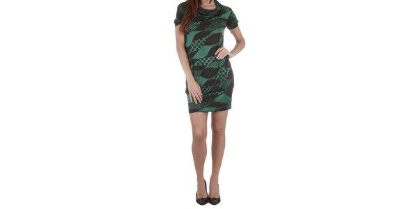 Dámske zeleno-čierne úpletové šaty Miss Sixty