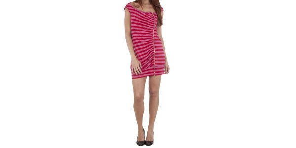 Dámske červeno-ružové šaty Miss Sixty so zipsom
