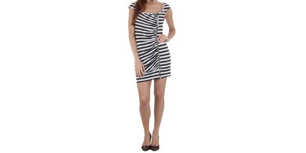 Dámske čierno-biele šaty Miss Sixty so zipsom