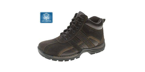 Pánske hnedé zimné kožené členkové topánky Beppi