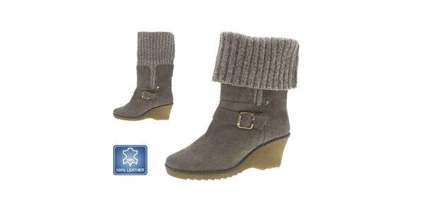 Dámske šedé kožené topánky na kline Beppi
