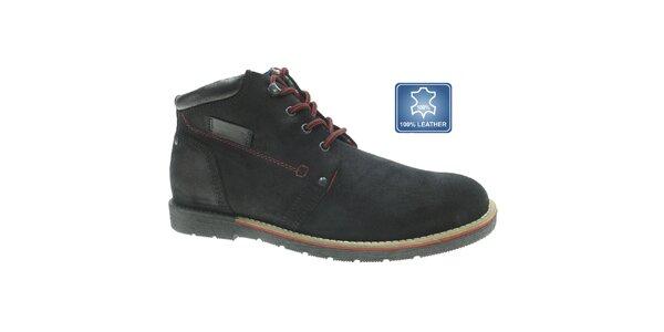 Pánske čierne kožené topánky s červenou šnúrkou Beppi