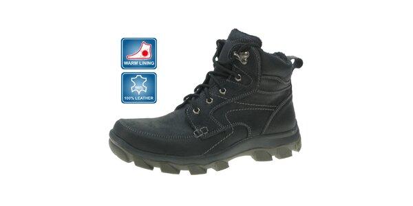 Pánske čierne zimné kožené členkové topánky Beppi