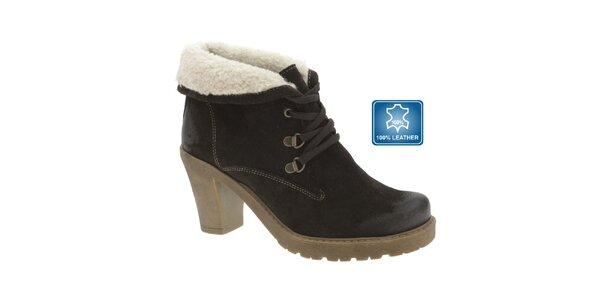 Dámske tmavo hnedé kožené topánky s kožúškom Beppi