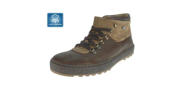 Pánske hnedé kožené členkové topánky Beppi