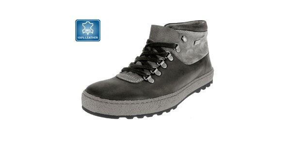Pánske šedé kožené členkové topánky Beppi