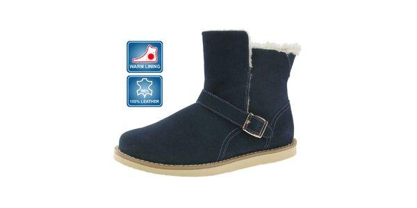 Dámske modré kožené topánky Beppi