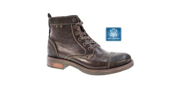 Pánske hnedé zaväzovacie členkové topánky Beppi