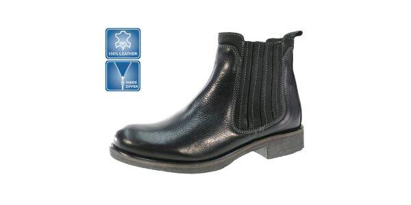 Pánske čierne členkové kožené topánky Beppi so zipsom