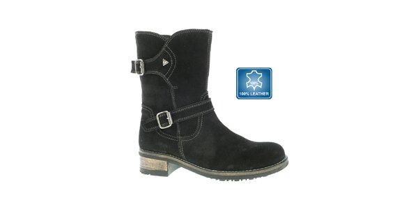 Dámske čierne kožené topánky Beppi
