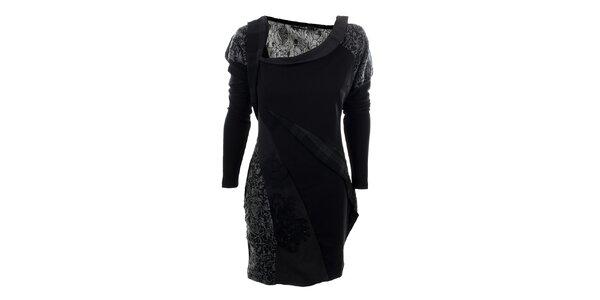 Dámske čierne šaty s kvetinovým vzorom Angels Never Die