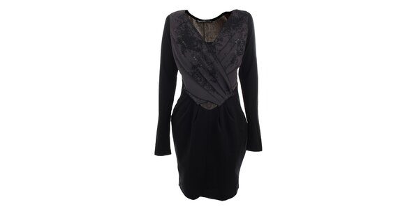 Dámske čierno-fialové šaty s plisovaním Angels Never Die