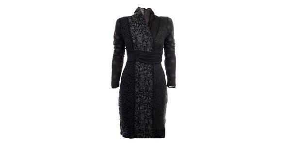 Dámske šedé jesenné šaty s potlačou Angels Never Die