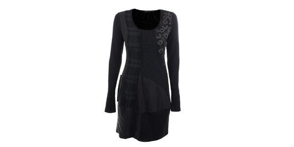 Dámske šedo-čierne šaty s kockou a kvetinami Angels Never Die