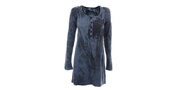 Dámske modré šaty s originálnou potlačou Angels Never Die