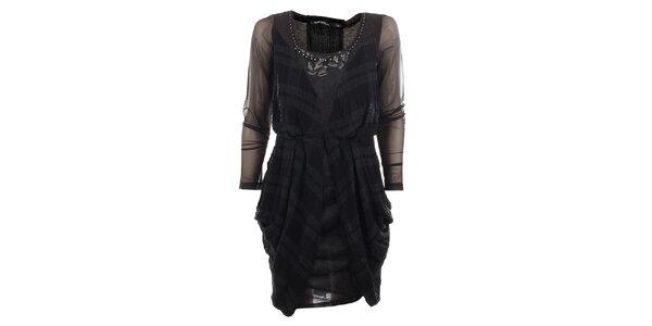 Dámske antracitové šaty s transparentnými rukávmi Angels Never Die