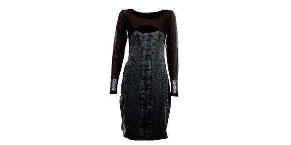 Dámske šedo-čierne šaty s prestrihom Angels Never Die