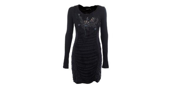 Dámske antracitové šaty s korálkovou aplikáciou Angels Never Die