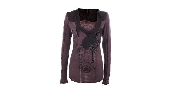 Dámske tmavo fialové tričko s efektným golierikom Angels Never Die