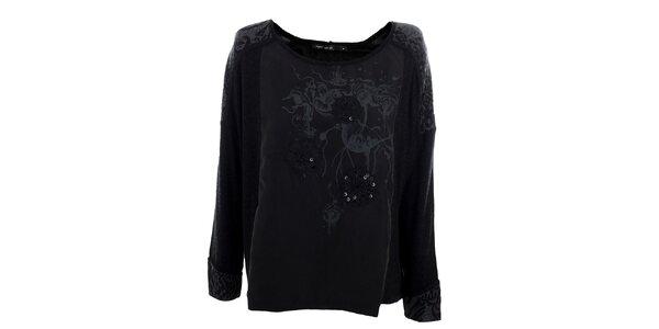 Dámske voľné čierne tričko Angels Never Die s flitrami